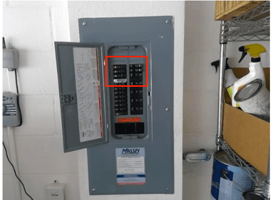 AFCI's in Square D electrical panel - White buttons are AFCI'S.