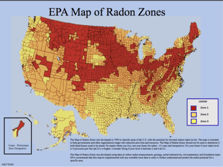 Radon map of the U.S. Northeast is in the red zone.